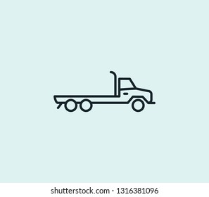 Flatbed truck icon line isolated on clean background. Flatbed truck icon concept drawing icon line in modern style. Vector illustration for your web mobile logo app UI design.