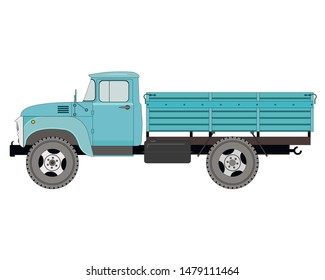 Flatbed truck, isolated on white background, vector illustration