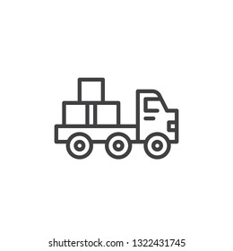 Flatbed truck line icon. linear style sign for mobile concept and web design. Truck with Bricks outline vector icon. Construction machines symbol, logo illustration. Pixel perfect vector graphics