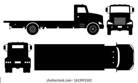 Flatbed truck silhouette on white background. Vehicle icons set view from side, front, back, and top