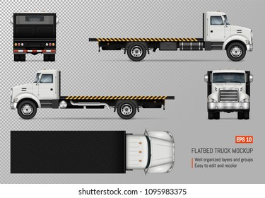 Flatbed truck vector mockup. Isolated template of the white lorry on transparent background for vehicle branding, corporate identity. View from left, right, front, back, and top sides