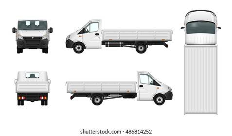 Flatbed truck vector mock-up. Isolated template of pickup on white. Vehicle branding mockup. View from side, front, back, top. All elements in the groups on separate layers. Easy to edit and recolor.