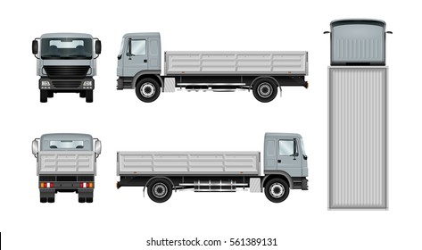 Flatbed truck vector template. Isolated lorry mock up on white background. The ability to easily change the color. All elements in the groups on separate layers. View from side, back, front and top.