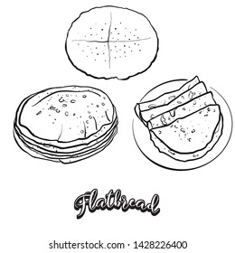 Flatbread food sketch on chalkboard. Vector drawing of Flatbread, usually known in . Food illustration series.