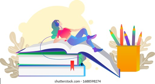 Flat-design girl on the books. Audiobooks Flat-design. Woman listening to an audiobook Vector. Cartoon. Isolated art on white background.