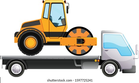 Flatebed truck carrying tractor on isolated background illustration