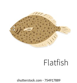 Flatfish vector icon. Flat, simple, isolated.