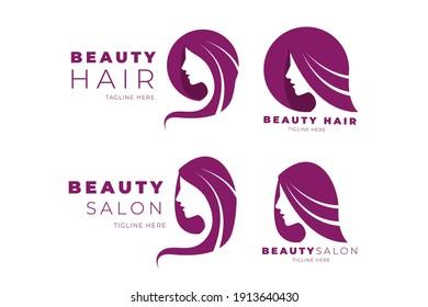Flat-hand drawn hair salon logo collection Vector illustration.