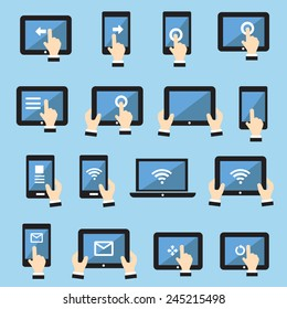 flatIcon set tablets and mobile with touch screen