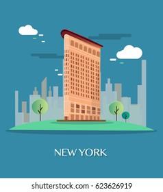 Flatiron Building New York.Vector Illustration.