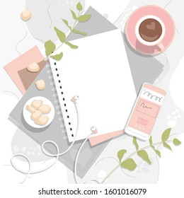 Flatlay frame in modern style, vector illustration. Business layout, office template in pink, white and green colors: coffee, diary, notebook.