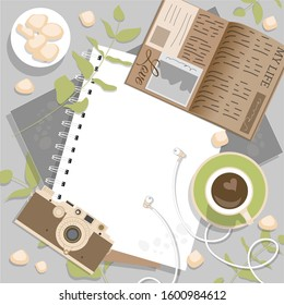 Flatlay frame in retro style, vector illustration. Business layout, office layout in brown and green colors: coffee, camera, diary, notebook.