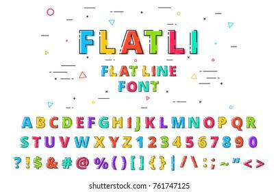 FLATLI. Flat line font. Latin alphabet , numbers, symbols. Cute modern bold typeface with capital symbols. Vector illustration