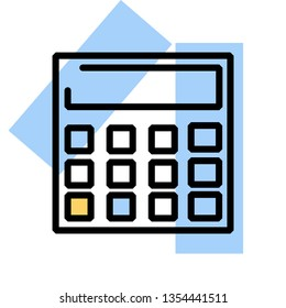 flatline icon calculator bright colored shapes and black lines
