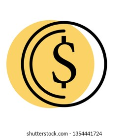 flatline money icon with bright colors and black lines