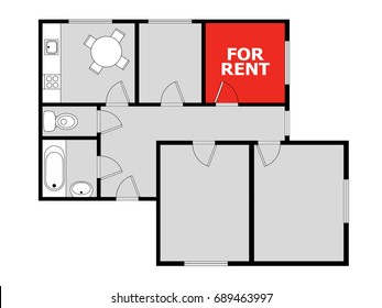 Flatsharing - plan of flat with marked free room as advertising to share housing, living and staying at apartment. Vacant bedroom is free for accommodation of tenant and flatmate / roommate