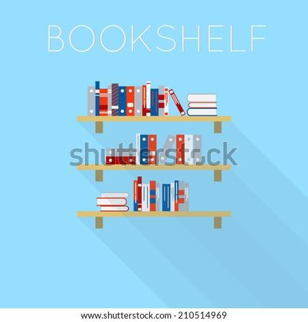 Flat Style Design Of Three Bookshelf With Books Light Blue Background Shadow