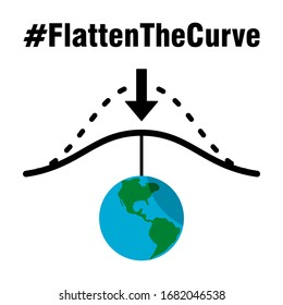 Flatten The Curve Hashtag Icon with Earth Symbol Pulling the Curve Down. Vector Image.