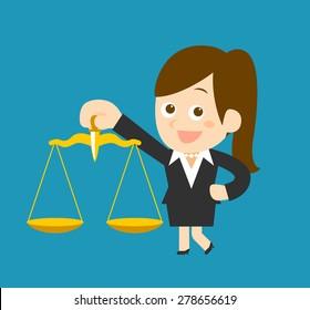 Flatten Vector illustration - Cartoon businesswoman character