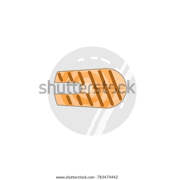 flattened vector image of fried fish