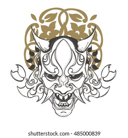 Flat,vector.Japanese demon mask.Line drawing with patterns.