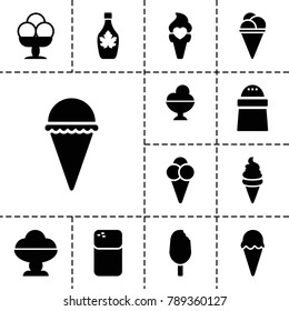 Flavor icons. set of 13 editable filled flavor icons such as ice cream, pepper