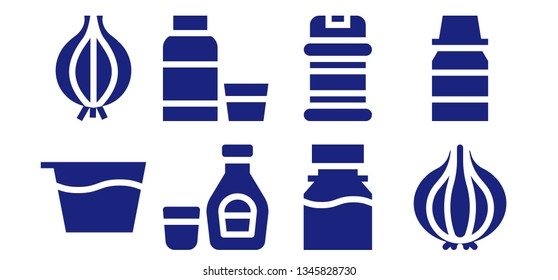 flavoring icon set. 8 filled flavoring icons.  Simple modern icons about  - Syrup, Onion, Condiments