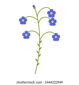 Flax blue flower flat icon, wild flowers, plant vector illustration isolated on white background