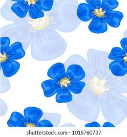 Flax blue flowers. Seamless pattern. Vector illustration.