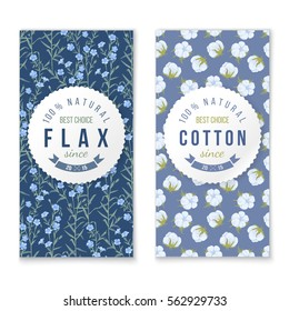 flax and cotton vertical banners with round labels