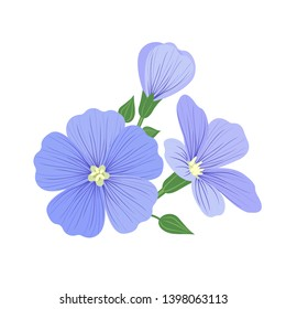 Flax flower icon with seeds in flat style isolated on white background. Superfood flax medical herb. Vector illustration.