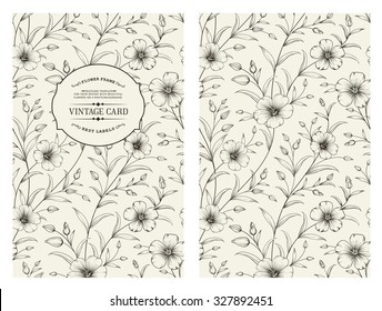 Flax flower isolated over gray background. Vintage card with flowers on background. Book cover with floral texture. Blue lines on white background. Vector illustration.