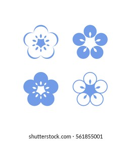 Flax flowers on white background. Icon set
