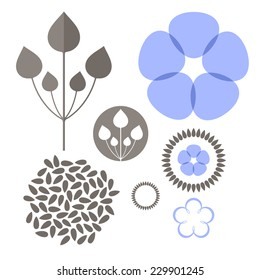 Flax. Vector illustration.Dried flax and flowers on white background