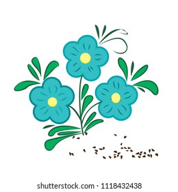 Flaxseeds and flax flower in folk decorative style vector illustration  on a white background