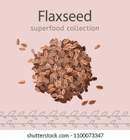Flaxseeds image isolated on a light beige background. Superfood collection. Vector illustration.