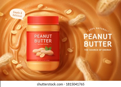 Flay lay of peanut butter spread on a brown liquid with nut pods effect in 3d illustration
