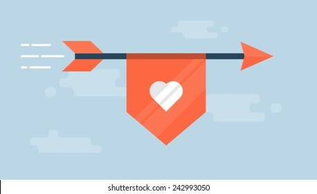 flaying arrow with a ribbon with a heart shape, vector flat style illustration