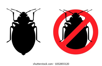 Flea, a blood-sucking insect, no insects, the destruction of pests, a parasite. Black contour, white isolated background.