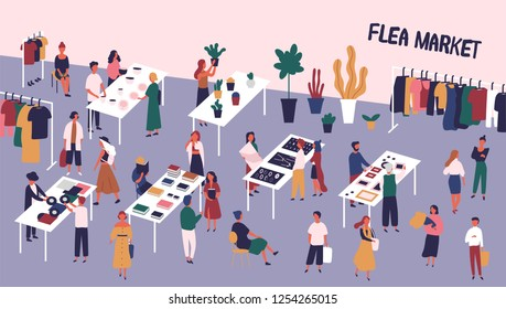 Flea or fashion market, rag fair with people walking among counters and buying vinyl records, old books, vintage clothes, jewelry, ceramics. Colorful vector illustration in flat cartoon style.
