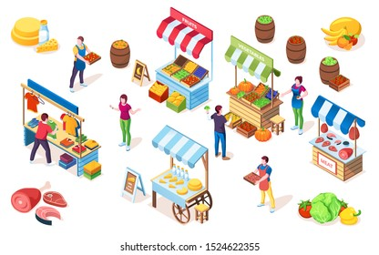 Flea market counters or bazaar stall, marketplace showcase with canopy, street shop or grocery store with milk and fruit, vegetables and cheese, meat, greengrocery, clothing.Grocer, food, sale, retail