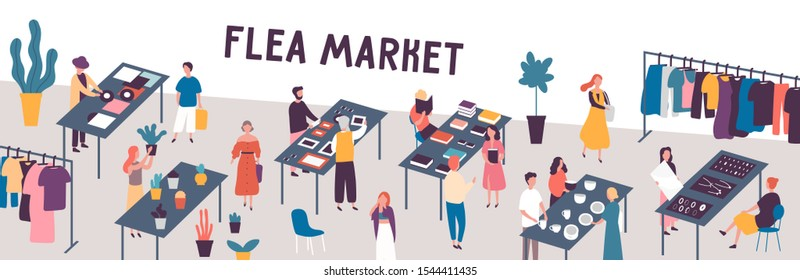 Flea market flat vector illustration. Sellers and customers faceless characters. Rag fair items buying. Swap meet. Cheap goods, junk, purchase, bargain. Bazaar, fashion designers market.