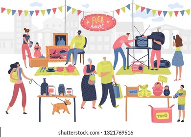 Flea market. People on fashionable shopping second hand retro goods clothes swap meet bazaar. Shoppers on fleas market vector concept