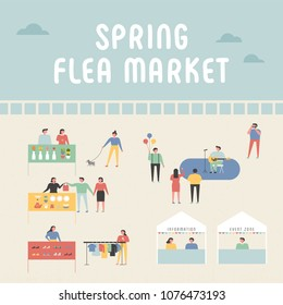 flea market poster concept poster. vector illustration flat design