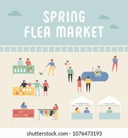 flea market poster concept poster. vector illustration flat design