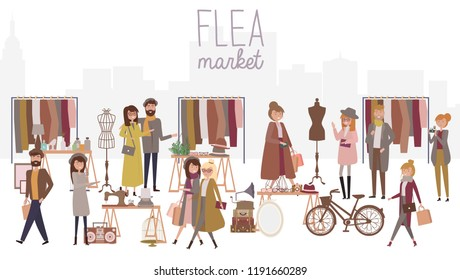 Flea market poster with people selling and shopping at walking street, vintage clothes and accessories shop, cartoon flat design. Editable vector illustration