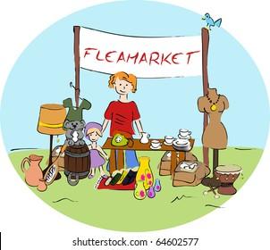 Flea market - vector.