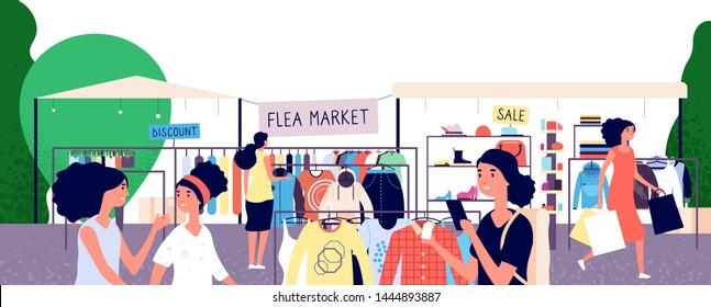 Flea market. Women shoppers choosing fashion clothes at bazaar. Garage street sale and secondhand shopping vector concept. Shopping outdoor bazaar illustration
