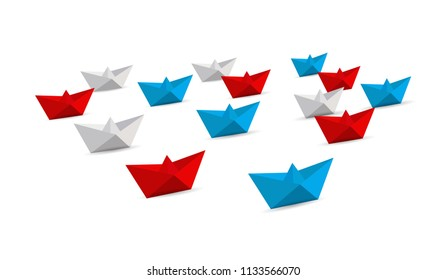 fleet of origami paper boats. Teamwork concept. red, white and blue. illustration over a white background