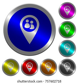Fleet tracking icons on round luminous coin-like color steel buttons